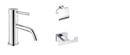 tvättställsblandare, toapappershållare och handdukskrokar